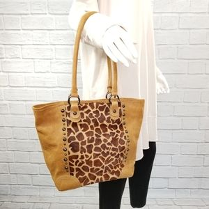 Innue Italian Leather Handbag Giraffe Print Hide